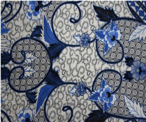 White and blue ceramics printing beach shorts fabric BSF-002