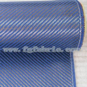 Aramid 1500d Carbon 3K Fiber Twill Weave Mixed Fabric 195gsm|Carbon Kevlar(Blue)Hybrid Cloth SCA-006