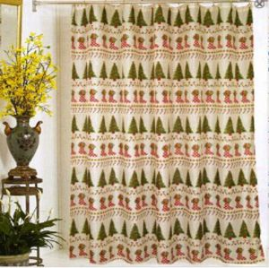 Christmas fabric shower curtains HLF-019