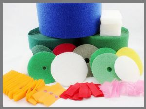 Coloured polyester Dots Circle hook and loop tape for sewing,Strong Sticky