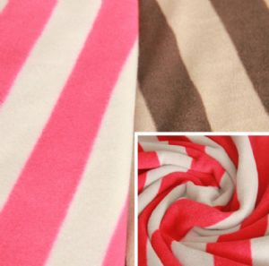Stripe Anti-Pilling Polar Fleece Printed Polyester Fleece Fabric Factory KFE-006
