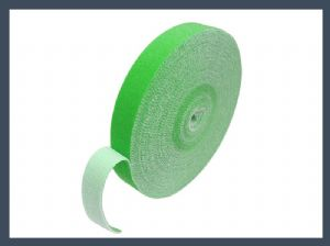 Fastener 10mm 20mm back to back hook and loop cable tie,green