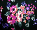 Flowers on black bottom nylon 4 way spandex fabric PFF-063