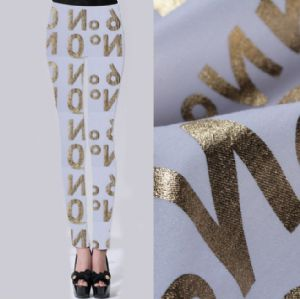 Letter printed twill leggings fabric PF-062