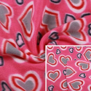 Polyester Fleece Fabric Heart Pattern Printed KFE-031