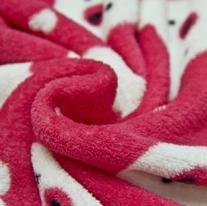 100% Polyester 288f Beatiful Printed Coral Fleece Fabric KFE-040