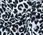 White Black Leopard Printed Polyester fabric PLF-001