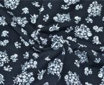 White Flower Polyester Spandex Textile PFF-003