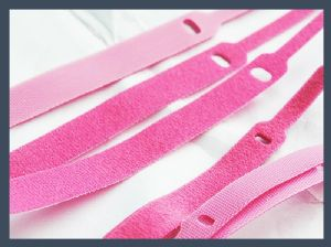 Wholesale pin type hook and loop cable tie,pink