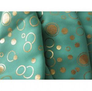 100% polyester gold printed chiffon fabric PPF-040
